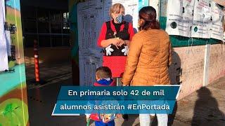 Secretario de Educación anticipa que la mitad de los 3.3 millones en nivel básico volverá a la escuela el lunes; en una primara de Toluca, únicamente 42 de mil estudiantes asistirán a la institución