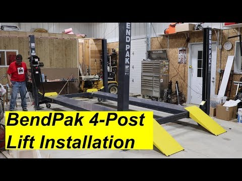 BendPak 4 Post Lift Install - YouTube