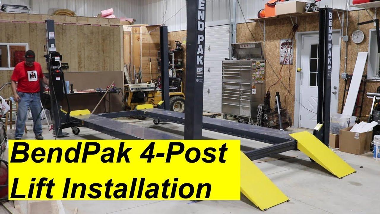 BendPak 4 Post Lift Install - YouTube