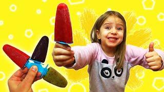 Дети готовят мороженое! Вкусное фруктовое мороженое для детей! Папа готовит с детьми!