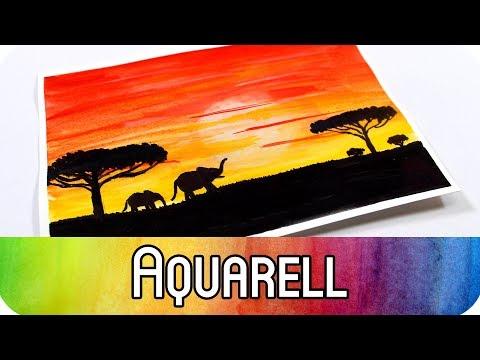 aquarell-malen-für-anfänger:-african-sunset- -art-journal-card