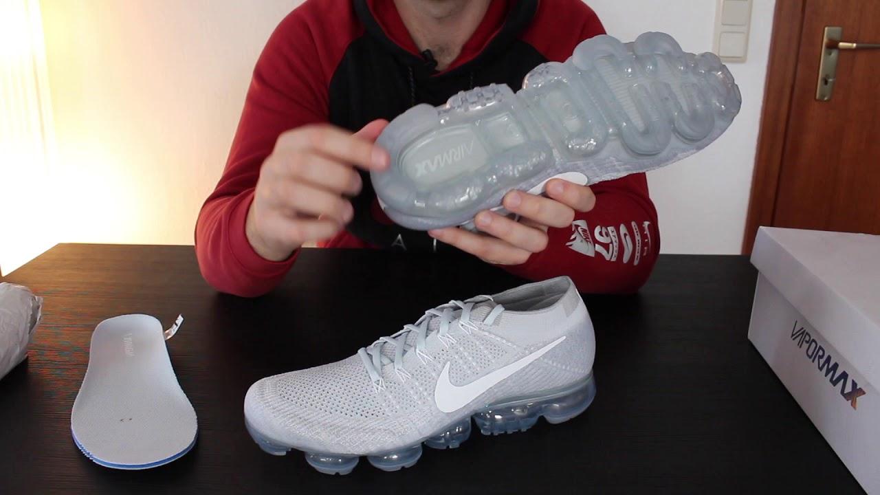 235d7a6b756 Nike Air Vapormax Flyknit Pure-Platinum White-Wolf-Grey !!!UNBOXING!!!  deutsch german