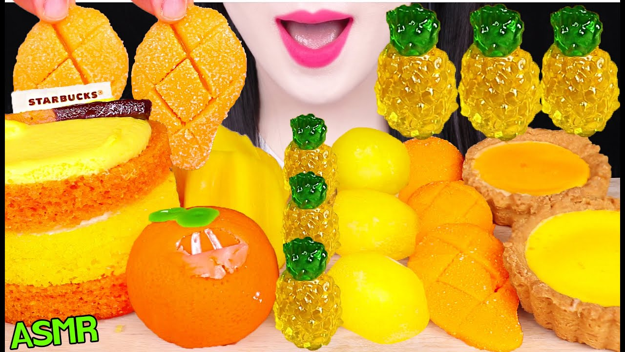 ASMR ORANGE FOODS *JACKFRUIT, MANGO GUMMY, PINEAPPLE JELLY 잭프루트, 망고 젤리, 파인애플 젤리 먹방 EATING SOUNDS