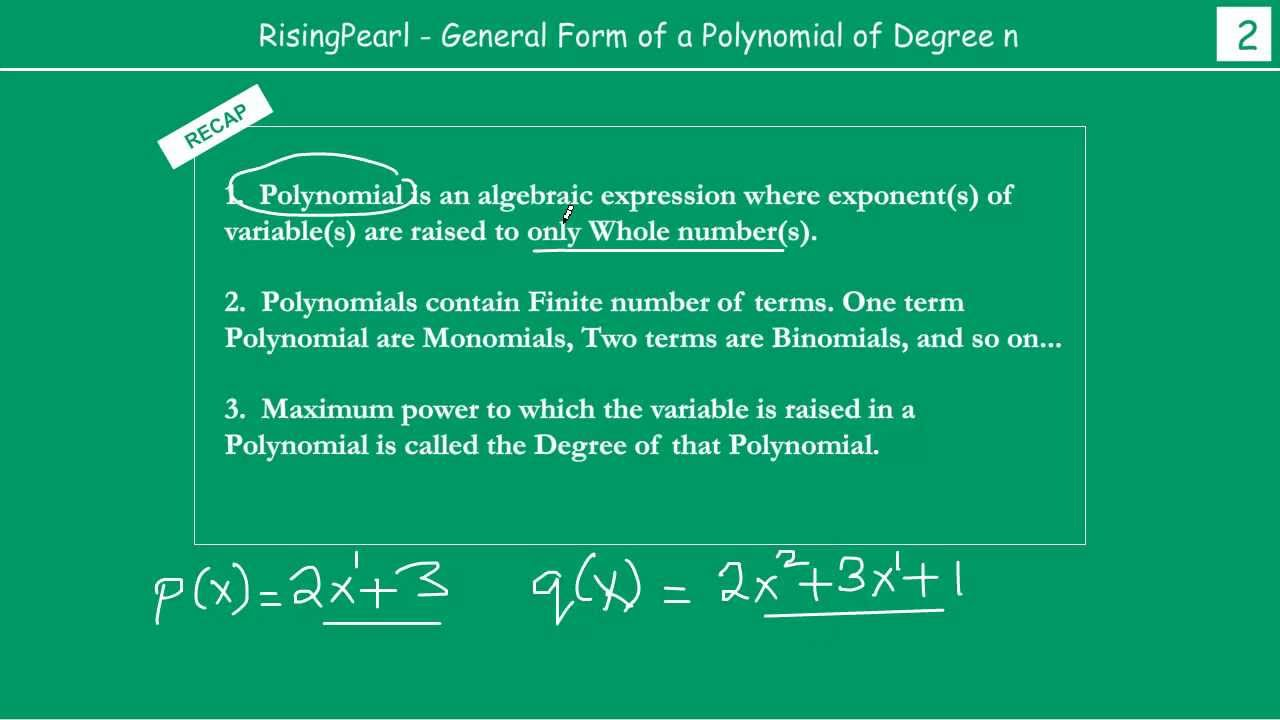 General Form Of A Polynomial Of Degree N