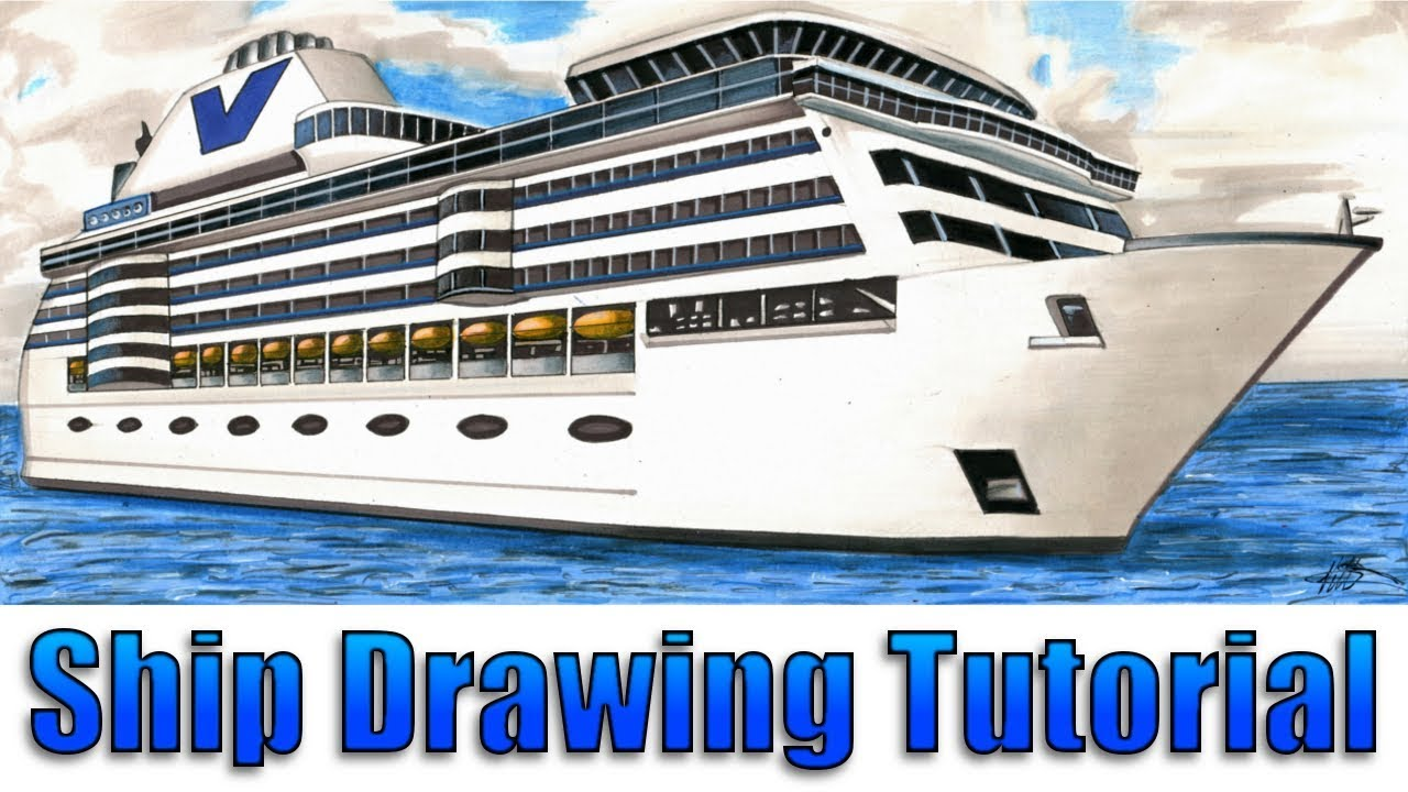 How To Draw A Realistic Cruise Ship 2 Point Perspective Colouring