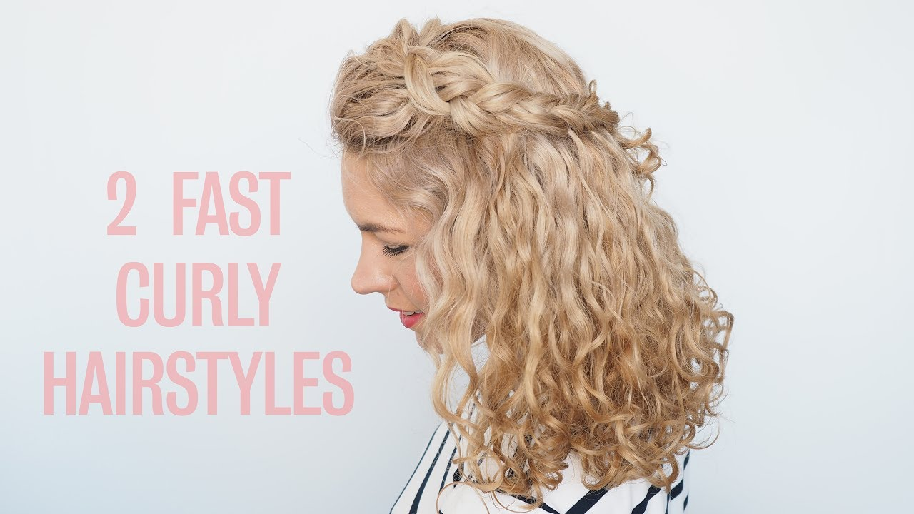 curly hairstyles in seconds! two fast half up hairstyles