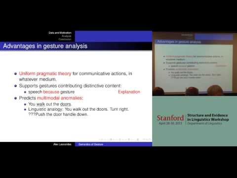 A formal semantic analysis of iconic gesture -- A. Lascarides
