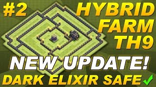 NEW UPDATE Town Hall 9 (TH9) Hybrid Farming Base Dark Elixir & Replays -Clash Of Clans CoC Setup #2