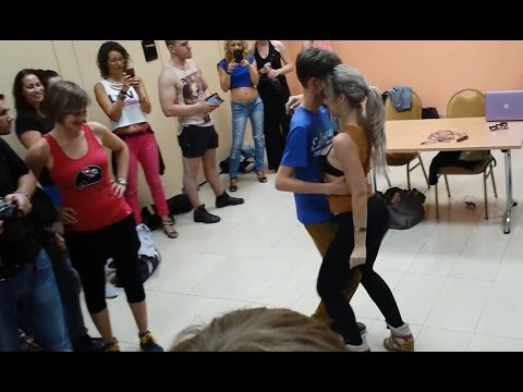 Kizomba - Sara Lopez with young boy 16 years old! social dance