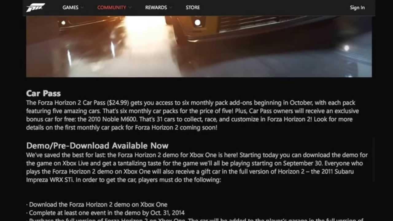 Forza Horizon 2 Info (forza Horizon 2) Car Pass, Locked Cars