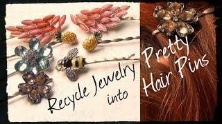 dIY Hair pins and Earrings Tutorial / Шпильки для волос и серьги из бусин и бисера TamireStudio