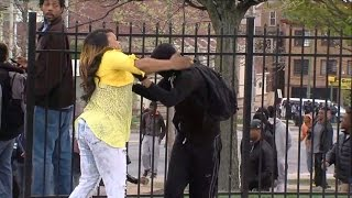 Angry Mom Beating Protester Son
