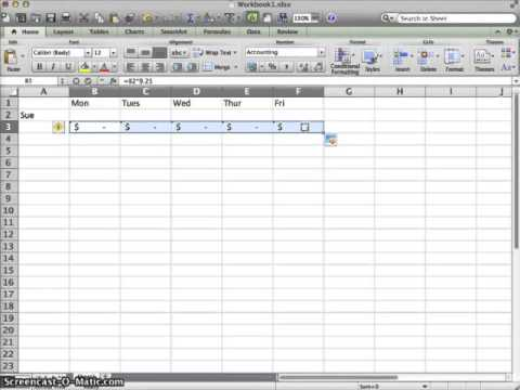 basic excel timesheet and calculation youtube