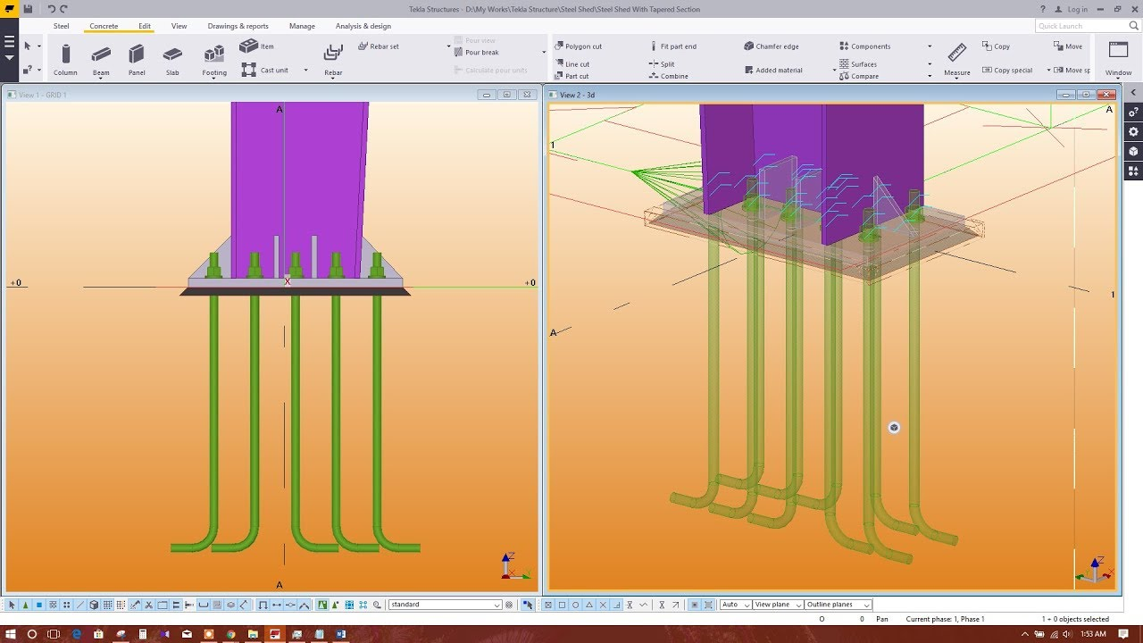 STEEL SHED MODELING IN TEKLA STRUCTURES-BASE PLATE CONNECTION WITH ANCHOR  BOLT