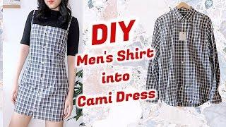 Refashion DIY Men's Shirt into Cami Dress / DIYファッション + 洋服 / 古着リメイク / 옷리폼 / THRIFT FLIPㅣmadebyaya