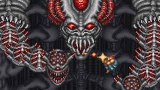Contra 3 (SNES) Final Boss Alien Brain (Hard, No Damage & Power Ups)