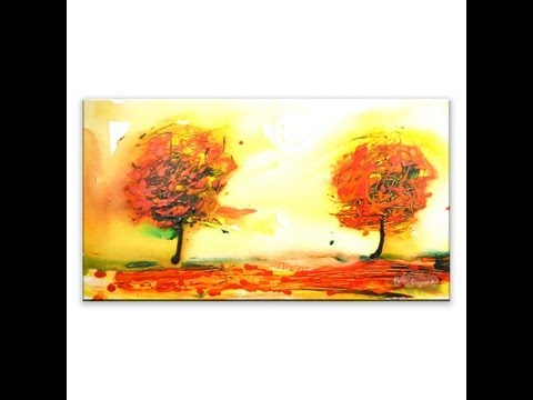 Painting two trees autumn wind landscape
