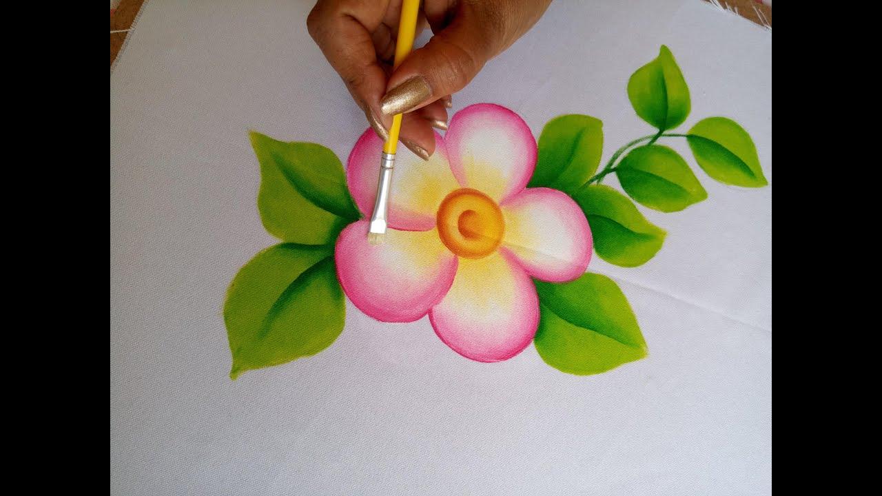Como Pintar En Tela Una Flor Con Hojas Fácil Para Principiantes