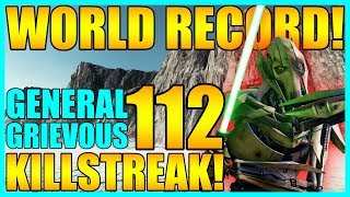 (Old World Record) 112 General Grievous Gameplay/Killstreak - Star Wars Battlefront 2