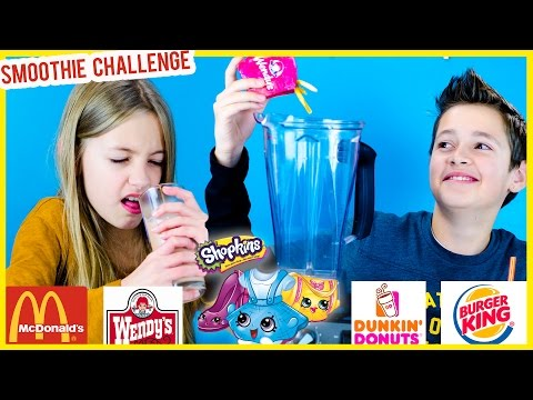 FAST FOOD SMOOTHIE CHALLENGE with SHOPKINS McDONALDS HAPPY MEAL TOYS! GROSS SMOOTHIE TASTE TEST