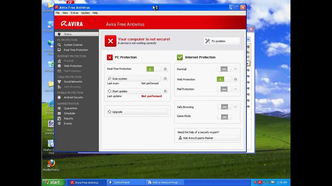 How to Uninstall Avira Free Antivirus 2014 on Windows XP