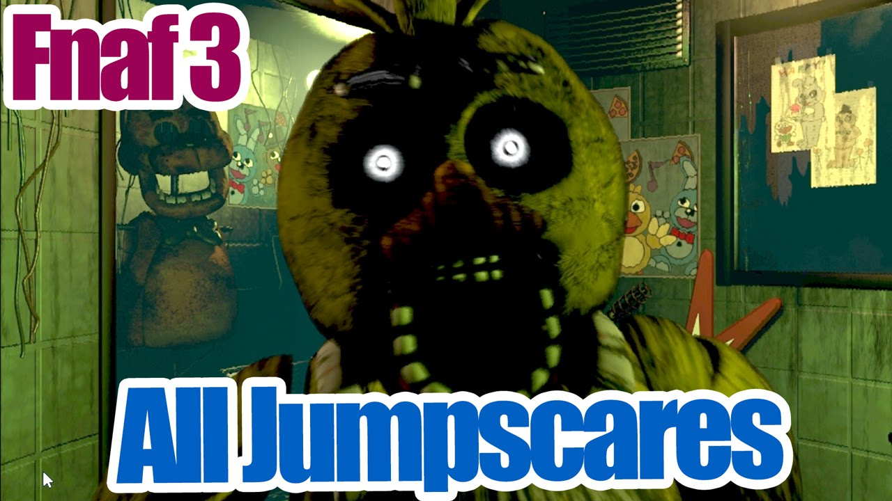 all five nights at freddy s 3 in game jumpscares phantom mangle