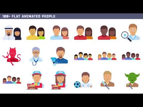 100+ Flat Animated Icons (People)  - After Effects template from Videohive