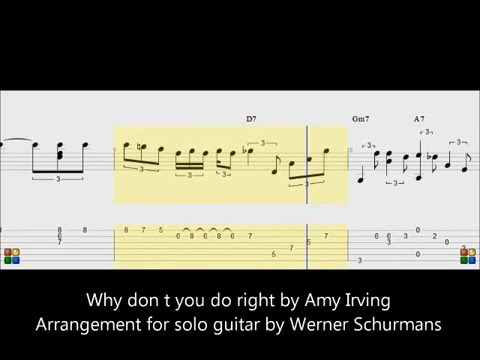 "tabs and score fingerstyle guitar :""why dont you do right "" by Amy Irving"
