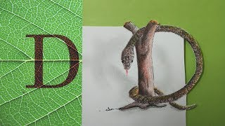 How to Draw :3D Trick Art Letter D on Paper.