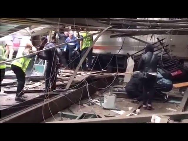 Immediate aftermath of NJ Transit crash in Hoboken