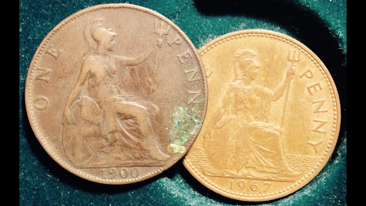 1900-1967 One Penny Coin From UK (Seated Figure of Britannia)