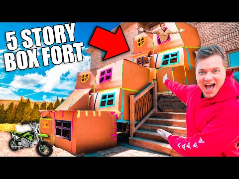 BIGGEST 5 STORY BOX FORT CHALLENGE! 50FT TALL SCARY