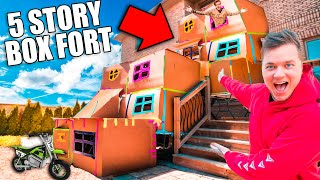BIGGEST 5 STORY BOX FORT CHALLENGE! 50FT TALL SCARY 😱📦