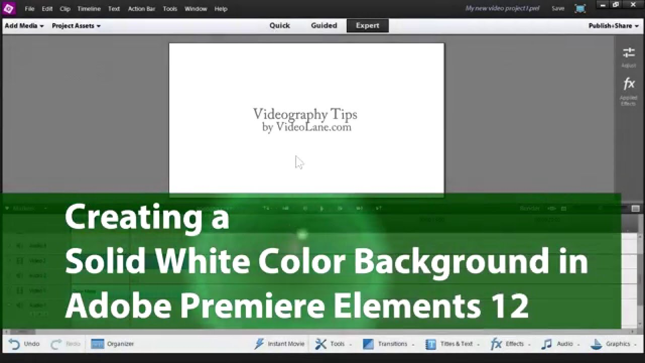 White Out Logo For Coloured Backgrounds - Creating a solid white color background adobe premiere elements training 2 videolane com