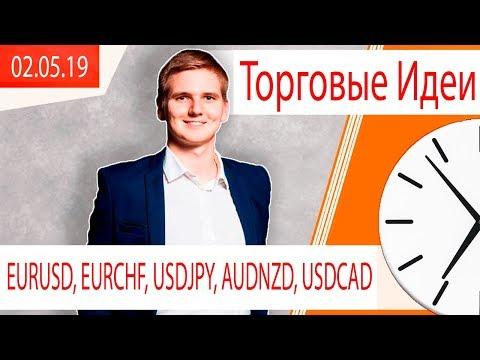 Торговые Идеи ⚠️ EURUSD, EURCHF, USDJPY, AUDNZD, USDCAD⚠️ | 02.05.19 | Максим Гордеев