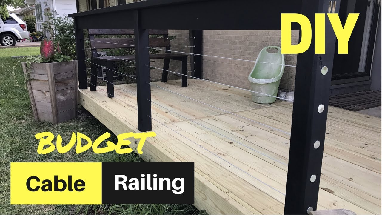 Cheap Easy Diy Cable Deck Railing Youtube | Menards Outdoor Stair Railings | Composite | Front Porch Railing | Railing Systems | Patio | Deck Railing Kits