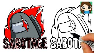 How to Draw AMONG US SABOTAGE ButtonGame Logo