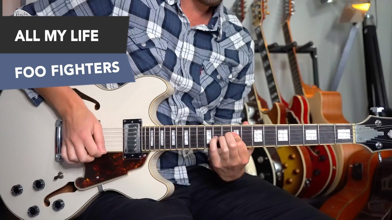Foo Fighters All My Life Electric Guitar Lesson Tutorial Simple
