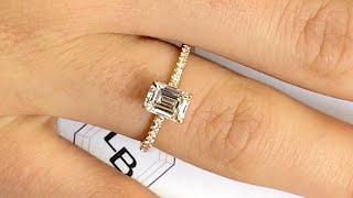 1.10 carat Emerald Cut Diamond Engagement Ring in Rose Gold