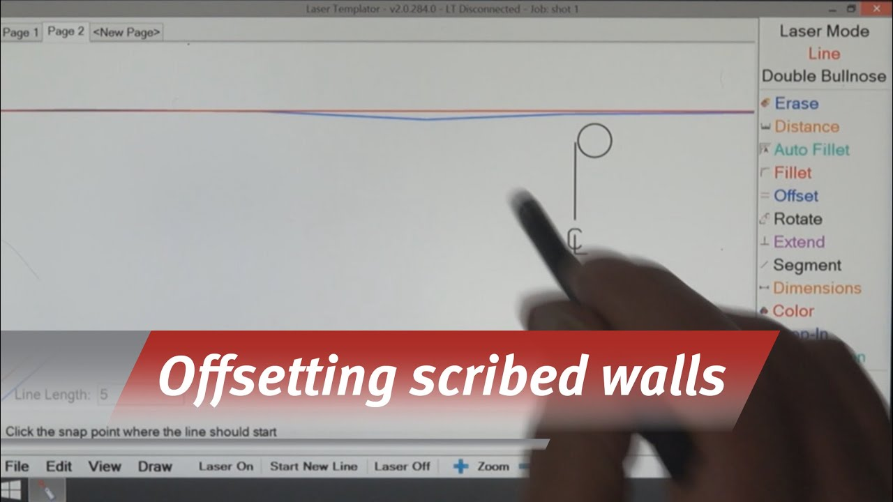 Laser Templator - Offsetting a Scribed Wall - YouTube