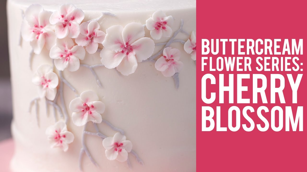 How to make buttercream cherry blossom flowers youtube mightylinksfo