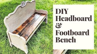 DIY Farmhouse Bench | Repurposed Headboard and Footboard