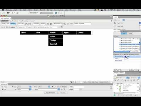 Dreamweaver - Spry 03 - Change Background Hover and Text Color of Spry Menu Bar