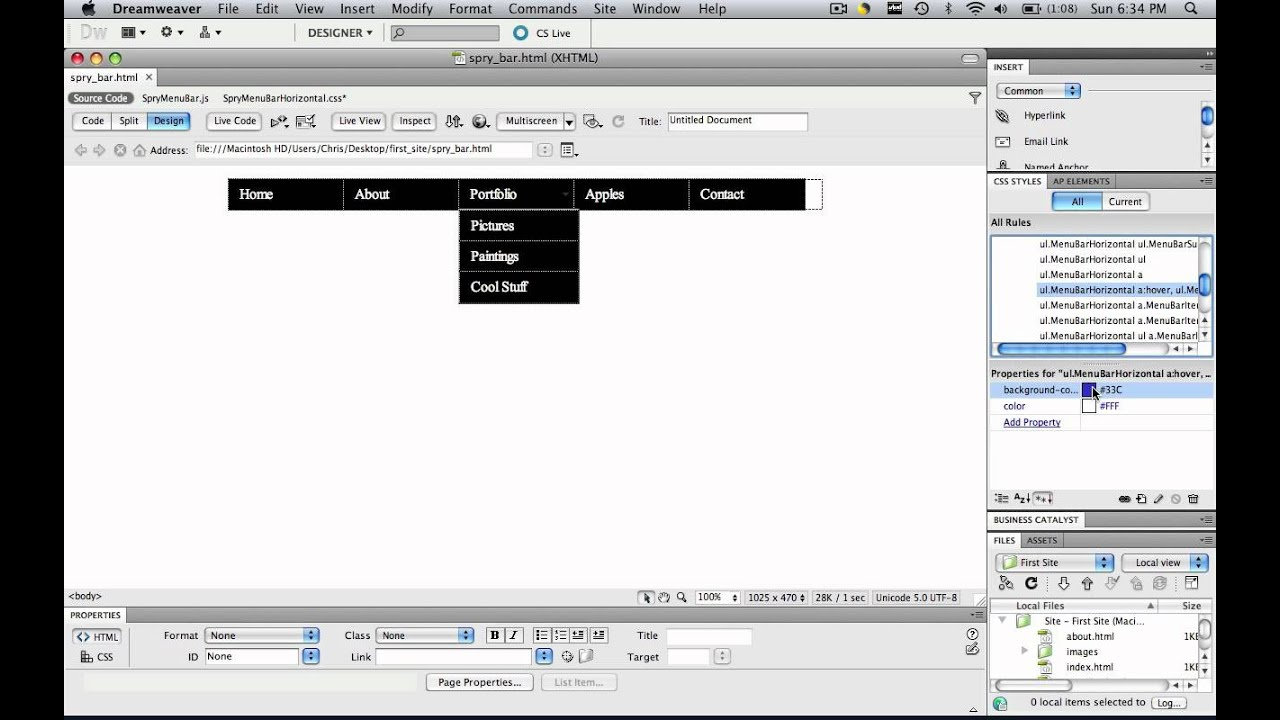 Dreamweaver create a gradient spry menu bar youtube.