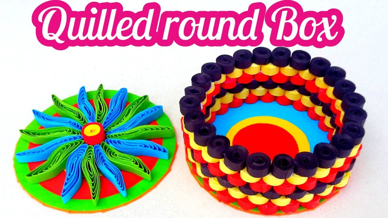 Quilled Round Box With Paper Quilling Strips Jewelry By Art Life