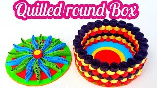 quilled round box with paper quilling strips # quilling jewelry box by art life