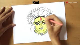 How to draw Maa Durga Face Step by Step