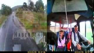 Dursunbey'de Öğrenci Servisi Kazası Araç İçi Kamera Görüntüsü