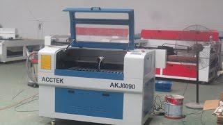 Acctek AKJ6090 Co2 laser engraving cutting machine 100W cut acrylic Logo