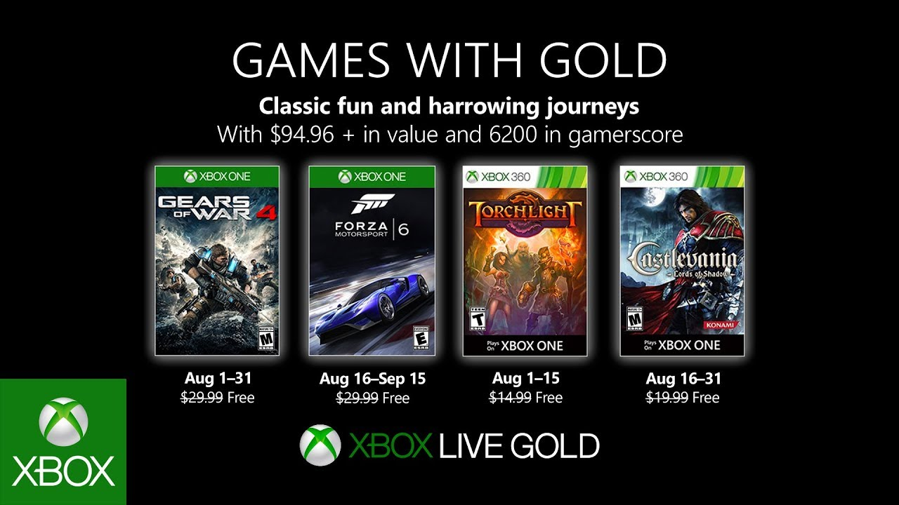 Xbox Games With Gold August 2020.Xbox August 2019 Games With Gold